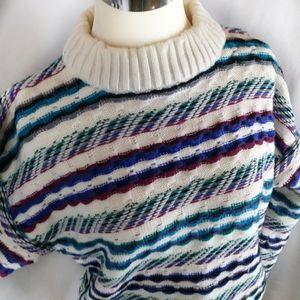Vintage Concrete 80s stripe mock chunky sweater